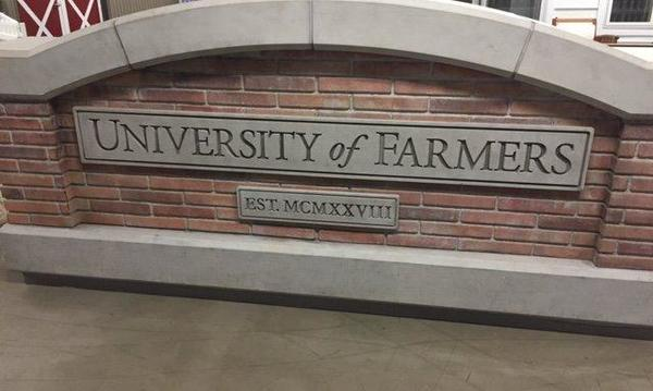 University of Farmers sign.