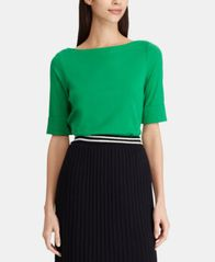Image of Lauren Ralph Lauren Stretch Boatneck Top