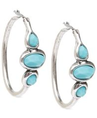 Image of Lucky Brand Silver-Tone Turquoise Hoops Earrings