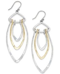 Image of Lucky Brand Two-Tone Triple-Loop Drop Earrings