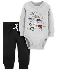 Image of Carter's Baby Boys 2-Pc. Cotton Dino-Mite Bodysuit & Jogger Pants Set