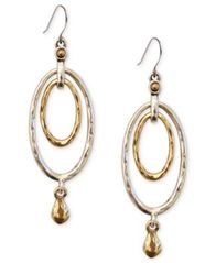 Image of Lucky Brand Earrings, Two-Tone Oval Orbital Drop Earrings