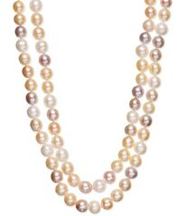Image of Belle de Mer Multi Two-Row Cultured Freshwater Pearl Strand in Sterling Silver (9-1/2mm)