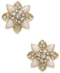 Image of Charter Club Gold-Tone Crystal & Pink Stone Stud Earrings, Created for Macy's