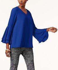 Image of Alfani V-Neck Poet-Sleeve Top, Created for Macy's