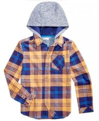 Image of Epic Threads Big Boys Layered-Look Plaid Hoodie, Created for Macy's