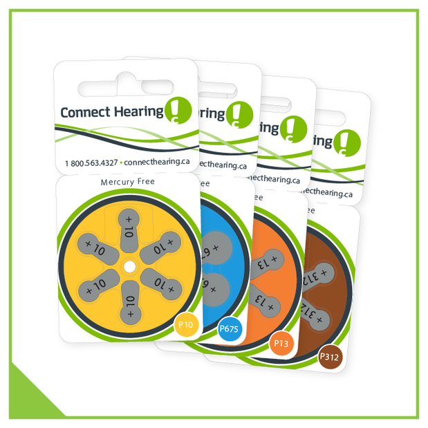 Mercury-free hearing aid batteries. Sizes 10, 13, 312, and 675.