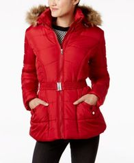 Image of Rampage Juniors' Faux-Fur-Trim Belted Puffer Coat, A Macy's Exclusive