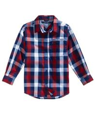 Image of Tommy Hilfiger TJ Plaid Cotton Shirt, Big Boys (8-20)