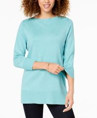 Image of Karen Scott Side-Ribbed Boat-Neck Sweater, Created for Macy's