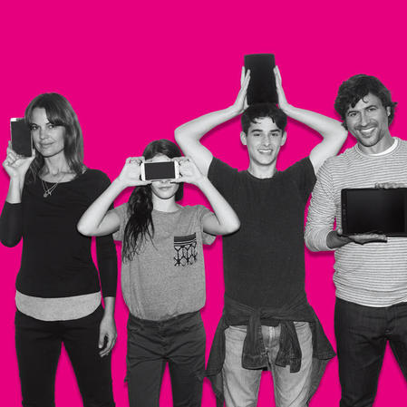 A woman holding a T-Mobile Cell phone next to her face, a young woman holding a white cell phone in front of her face, a young man holding a small tablet over his head and a man holding a table in front of his chest on top of a bright T-Mobile pink background.