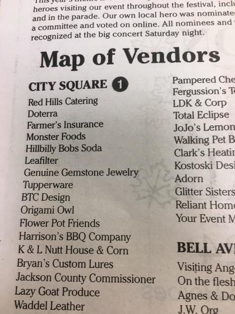 Map of Vendors for fall festival