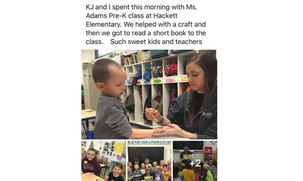 4 Photos of agent and KJ helping pre-school kids.
