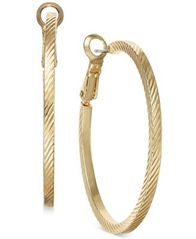 Image of Charter Club Gold-Tone Wide Textured Hoop Earrings, Created for Macy's