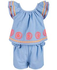 Image of First Impressions Baby Girls Embroidered Romper, Created for Macy's