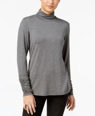 Image of Style & Co Ruched Mock-Neck Top, Created for Macy's