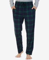 Image of Nautica Men's Blackwatch Plaid Lightweight Sueded Fleece Pajama Pants