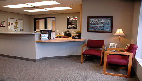 Reception area of Norm Foster Agency of Farmers Insurance, Lakeville MN.