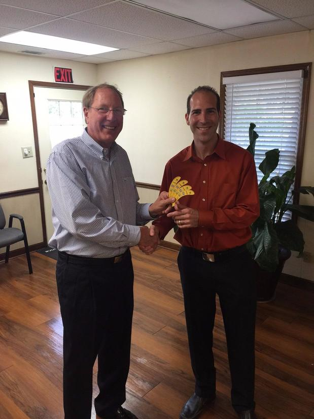 Mickey Rountree - Presenting Savannah Banana tickets to Jon McCall