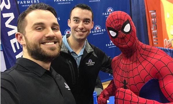 Agency Owner Lucas and Producer Brian with Spiderman