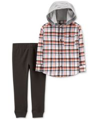 Image of Carter's Baby Boys 2-Pc. Cotton Hooded Plaid Shirt & Jogger Pants Set