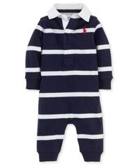 Image of Ralph Lauren Baby Boys Striped Rugby Coverall