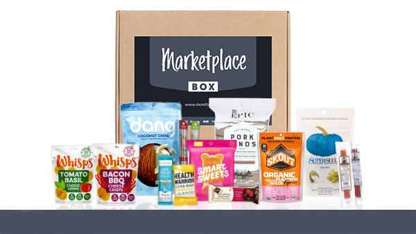 Marketplace Box with different foods to order.