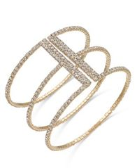 Image of I.N.C. Gold-Tone Crystal Triple Row Flex Bracelet, Created for Macy's