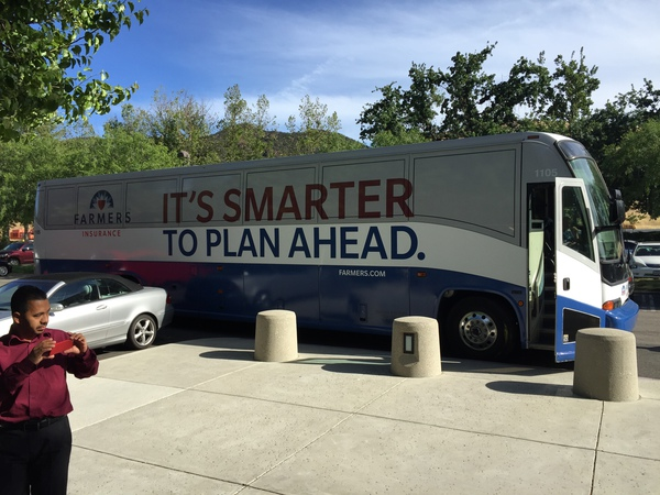 "Bus that says ""it's Smarter to Plan Ahead"""