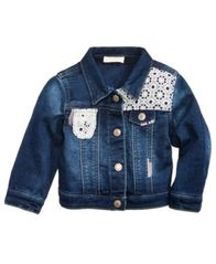Image of First Impressions Crochet Denim Jacket, Baby Girls, Created for Macy's