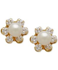 Image of Children's Cultured Freshwater Pearl (3-3/4mm) and Cubic Zirconia Stud Earrings in 14k Gold