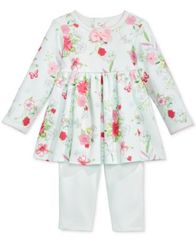 Image of First Impressions Baby Girls 2-Pc. Floral-Print Tunic & Leggings Set, Created for Macy's