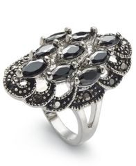 Image of Charter Club Silver-Tone Crystal Oval Statement Ring, Created for Macy's