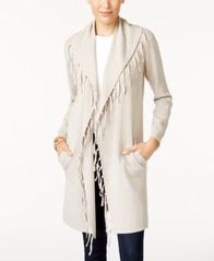 Image of Style & Co Fringe-Trim Duster Cardigan, Created for Macy's