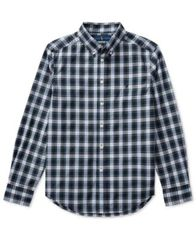 Image of Ralph Lauren Lightweight Plaid Cotton Shirt, Big Boys