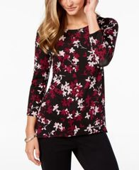Image of Alfani Mixed-Print High-Low Top, Created for Macy's