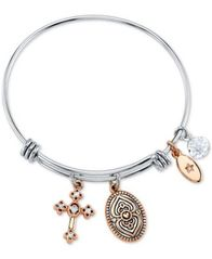 "Image of Unwritten ""Faith Can Move Mountains"" Adjustable Cross Charm Bangle Bracelet in Rose Gold-Tone & Stai"