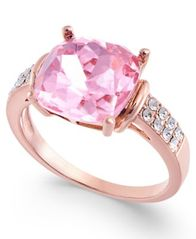 Image of Charter Club Rose Gold-Tone Stone & Crystal Statement Ring, Created for Macy's