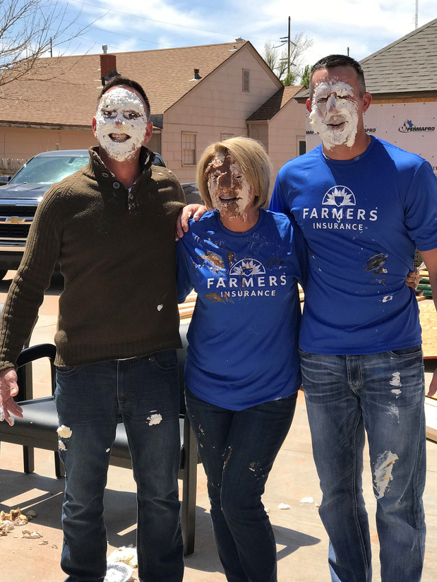 Picture of Farmers Agents at pie-in-the-face charity event