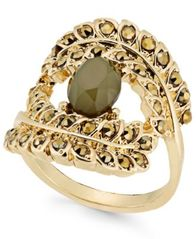 Image of INC International Concepts Gold-Tone Yellow Pavé & Green Stone Ring, Created for Macy's