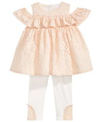 Image of First Impressions 2-Pc. Lace Tunic & Leggings Set, Baby Girls, Created for Macy's