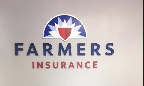 Farmers Insurance logo on the wall
