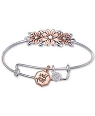 Image of Unwritten Two-Tone Flower Bangle Bracelet in Rose Gold-Tone & Stainless Steel
