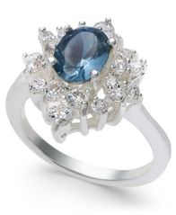 Image of Charter Club Silver-Tone Crystal & Stone Oval Halo Ring, Created for Macy's