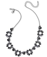 "Image of I.N.C. Silver-Tone Black Crystal Collar Necklace, 18"" + 3"" extender, Created for Macy's"