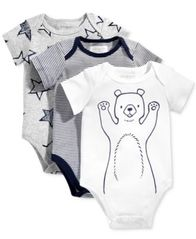 Image of First Impressions 3-Pk. Stars, Stripes & Bears Bodysuits, Baby Boys (0-24 months), Created for Macy'