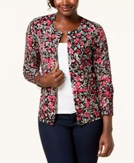 Image of Karen Scott Floral-Print Cardigan Sweater, Created for Macy's