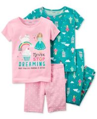 Image of Carter's 4-Pc. Dreamy Printed Cotton Pajama Set, Baby Girls