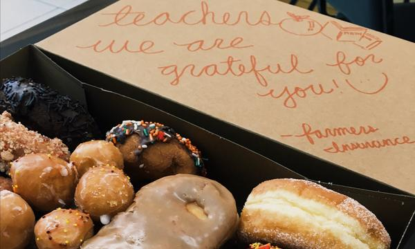 We brought in donuts to thank our local school teachers.