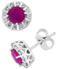 Image of Amoré by EFFY® Ruby (1-1/8 ct. t.w.) & Diamond (1/3 ct. t.w.) Stud Earrings in 14k White Gold (Also